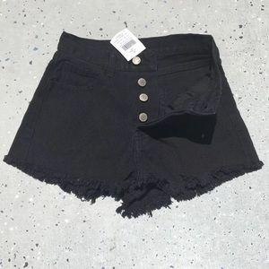 Brandy Melville black John Galt button fly shorts